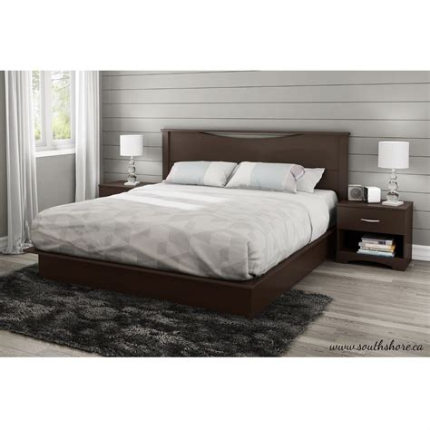 King Size Modern Platform Bed With 2 Storage Drawers In