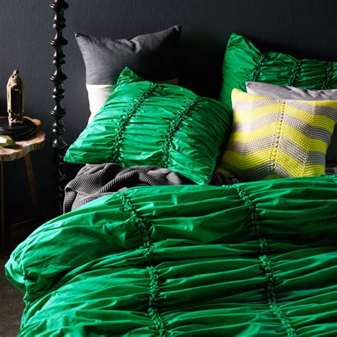 gathered emerald double bed quilt cover eclectic duvet