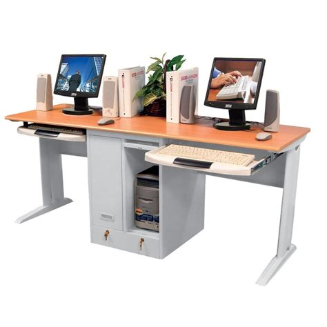 kids desk for two children 39 s computer desk for two with locking cpu shelves