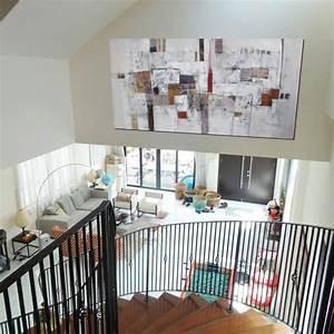 Grand Tableau Blanc : suwitra tableau abstrait panoramique grand format ton ~ Teatrodelosmanantiales.com Idées de Décoration