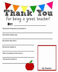 Thank you teacher free printable for Teacher appreciation templates