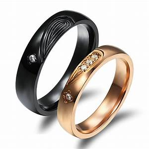 his and her promise rings crystal black gold couple rings With promise wedding ring
