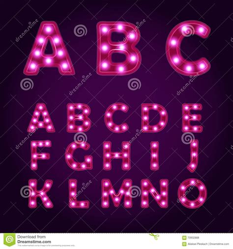 neon light letters font neon light letters alphabet vector font illustrations