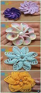 Crochet 3d Flower Motif Free Patterns  U0026 Instructions