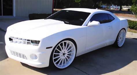 All White Cars by Lebron All White Camaro Big Rims Custom Wheels
