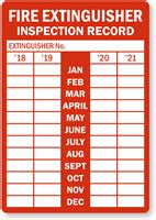 year record fire extinguisher tags