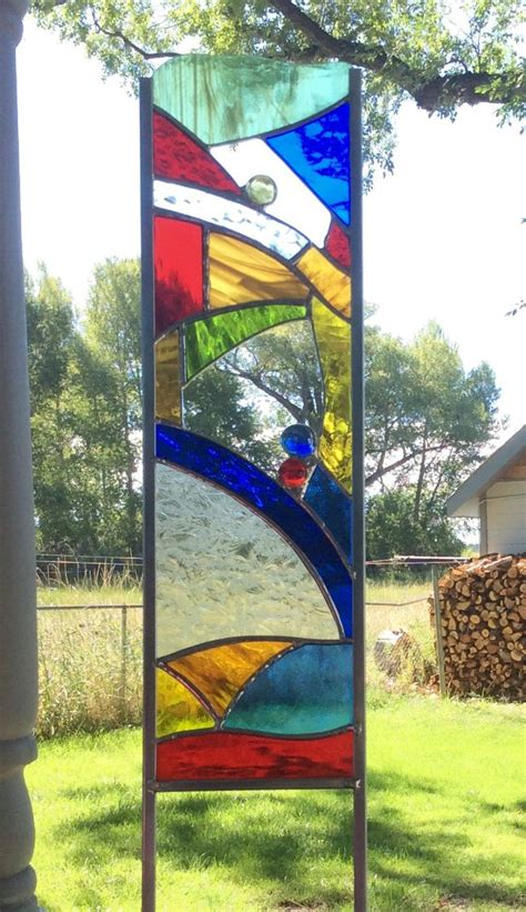 Stained Glass Garden Stake  Colorful Glass Art For Your