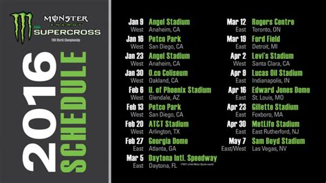 2015 ama motocross schedule 2016 monster energy supercross schedule mxbars net