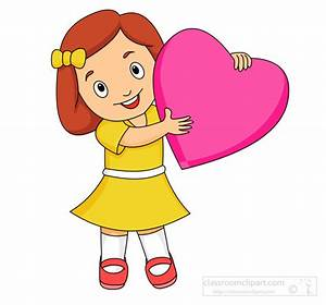 Children Clipart- cute-girl-holding-a-large-pink-heart ...