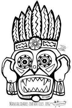 Masque maya Coloriage | Mayan mask, Aztec art, Aztec mask
