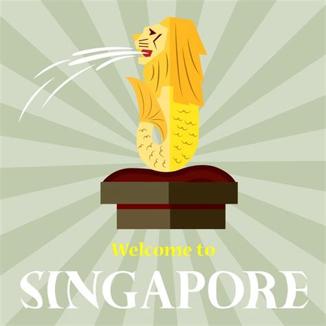 singapore promotion banner design with lion symbol free vector in adobe illustrator ai ai