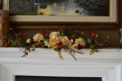 mantle swags mantle swag floral swag swag fireplace by thebloomingwreath