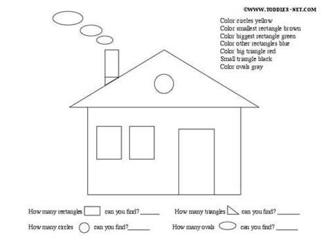 simple house shapes simple shape house worksheet shapes