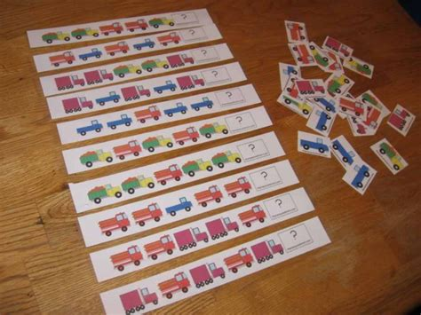 15 simple ways to teach patterns to preschoolers the 449 | truck pattern strips