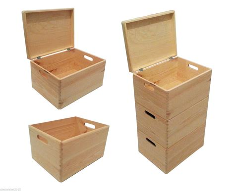 plain large pine wooden storage box toy trunk chest
