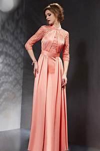 robe soiree corail a manches mi longue ornee avec dentelle With robe de soirée mi longue avec manche