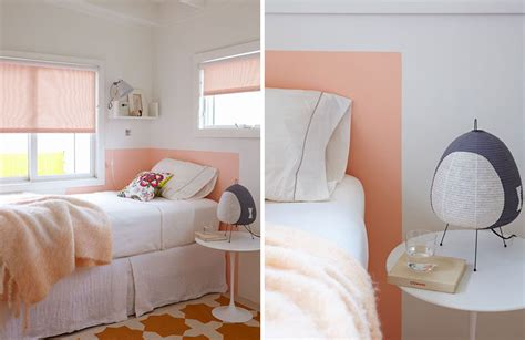 painted headboard on wall low budget headboard design idea paint a headboard directly on the wall contemporist
