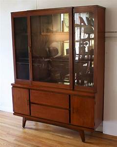 Mid Century Modern China Cabinet Hutch With Splayed Legs