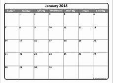 January 2018 Calendar Template yearly printable calendar