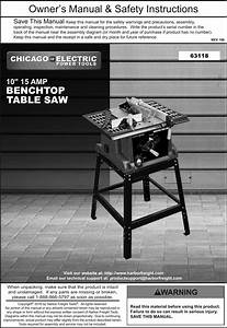 Manual For The 63118 10 In   15 Amp Benchtop Table Saw