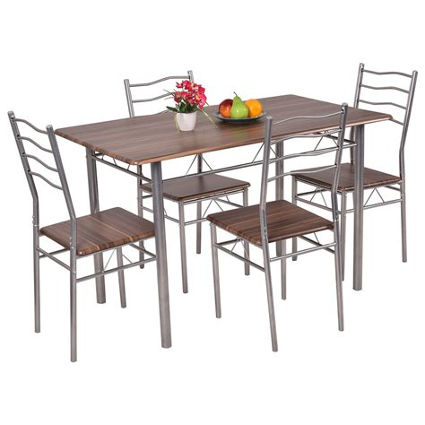wood steel dining table 5 piece dining set wood metal table and 4 chairs kitchen