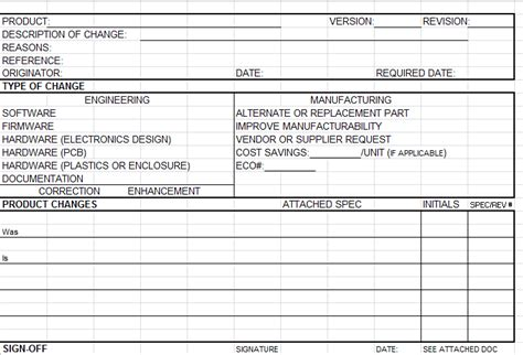 ready   product change notice form excel