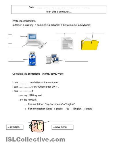 8 worksheets on computer class