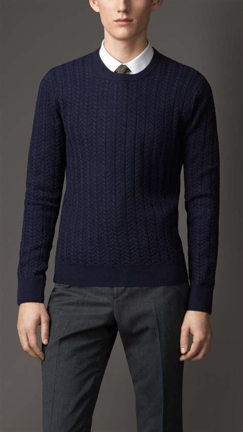 mens burberry sweater burberry aran knit wool sweater in blue for