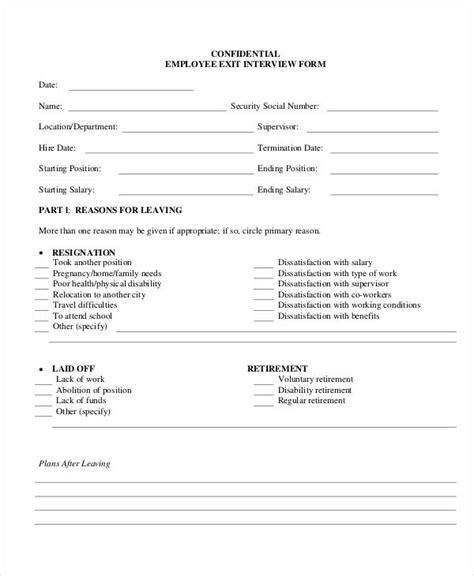exit interview forms templates employee exit interview form template