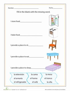 spanish household items worksheet educationcom