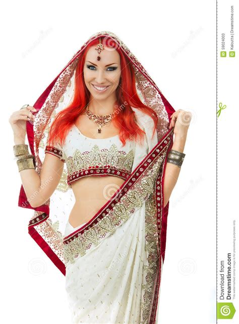 beautiful redhead woman  traditional indian sari clothing stock photo image