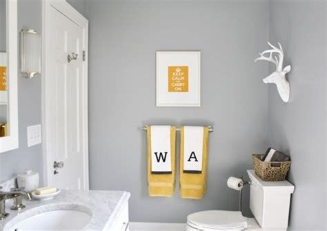 Yellow And Gray Bathroom Wall by Home Tour Decorating
