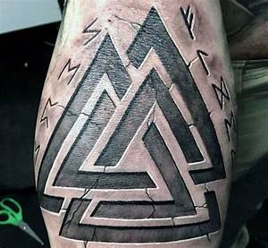 Triangle Stone Viking Runes Tattoos For Men On Arm ...