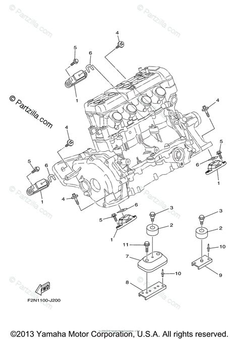Waverunner Engine Diagram by Yamaha Waverunner 2012 Oem Parts Diagram For Engine Mount