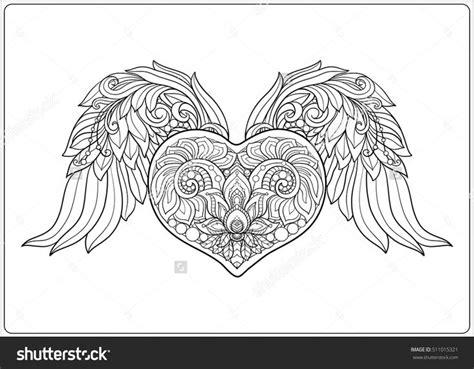 decorative patterned love heart  angel wings stock