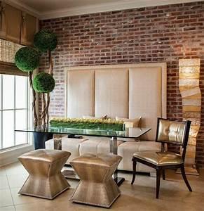 Banc Salle à Manger : d co salle manger avec mur brique 50 id es originales ~ Teatrodelosmanantiales.com Idées de Décoration