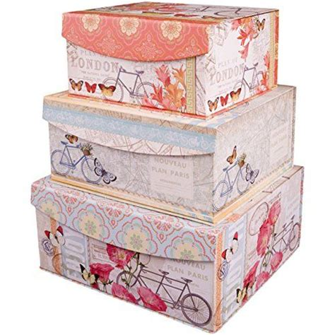 decorative nested flip top storage boxes nested set of 3