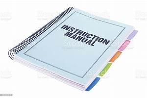 Instruction Manual Bound Paperwork Document On White Stock