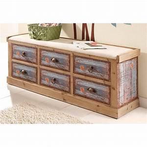 banc d39entree 6 tiroirs pin massif vintage home affaire With meuble d entree avec banc 3 banc de rangement bois acajou blanc
