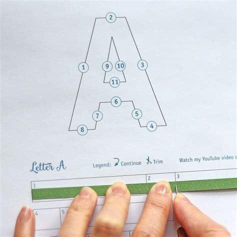 printable letter pattern  quilling strip measuring  shown  paper zen author