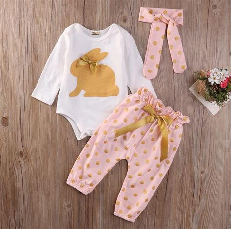 Cute Baby Girls Clothing Sets Tops Playsuit Pants Headband Outfit Set 3Pcs Newborn Infant Baby ...