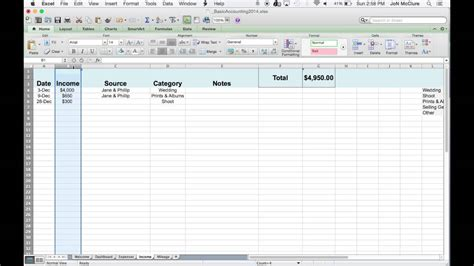 basic accounting spreadsheets for photographers youtube