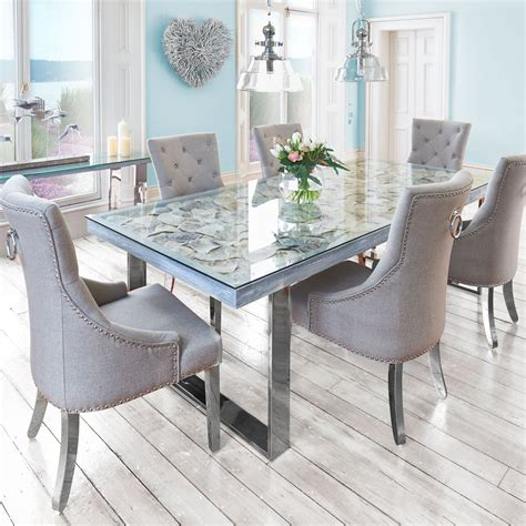 sacramento seashell top dining table and 6 chairs