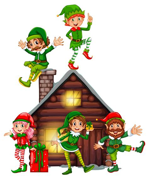 Many elves on the cabin - Download Free Vectors, Clipart ...