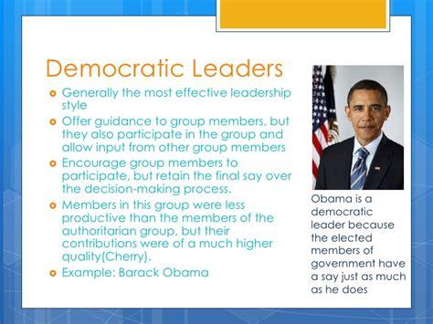 democratic leadership examples leadership styles