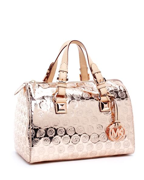lyst michael kors grayson monogram medium satchel rose gold  pink
