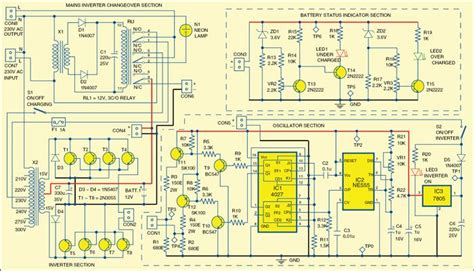 mini offline ups detailed circuit diagram available