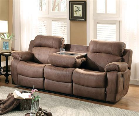 sofa with cup holders homelegance marille double reclining sofa with center drop