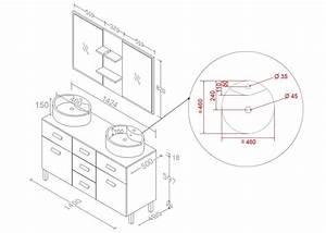 meuble double vasque gris taupe meuble 2 vasques moderne With dimension miroir salle de bain