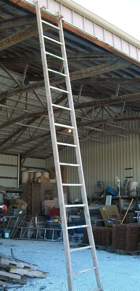 14 rung vintage rustic wooden ladder